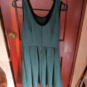 ModCloth emerald green dress faux suede.